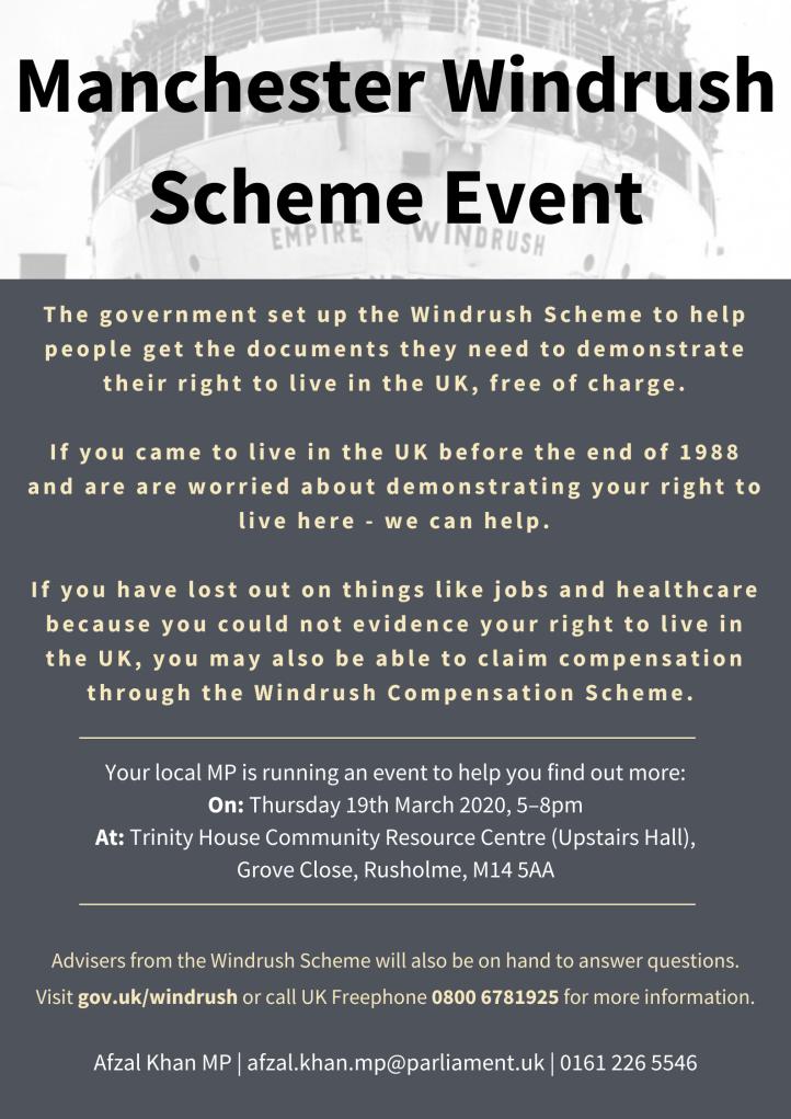 Manchester Windrush Scheme Event