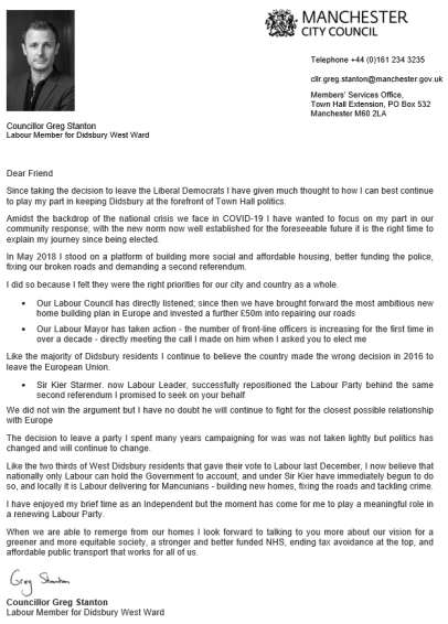 Greg Stanton letter
