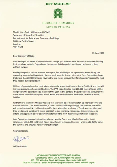 Gavin Williamson letter